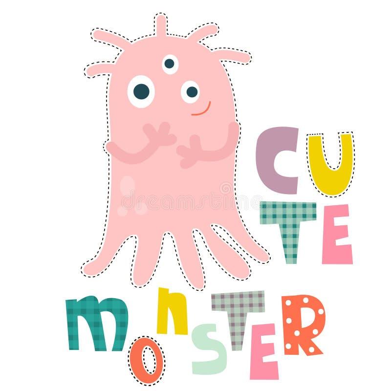 Conception de personnages de monstre pour la mode de bébé Copie d'enfants de T-shirt illustration de vecteur