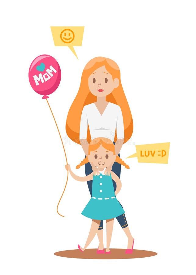 Conception de personnages heureuse de mère célibataire illustration libre de droits
