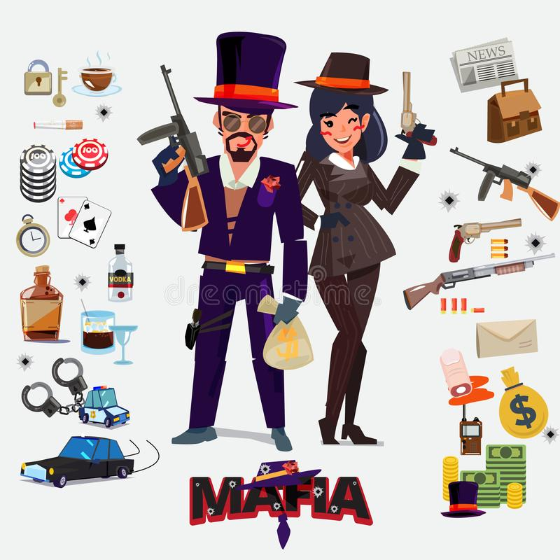 Conception de personnages, mâle et femelle de Mafia avec l'ensemble d'icône undergrou illustration de vecteur