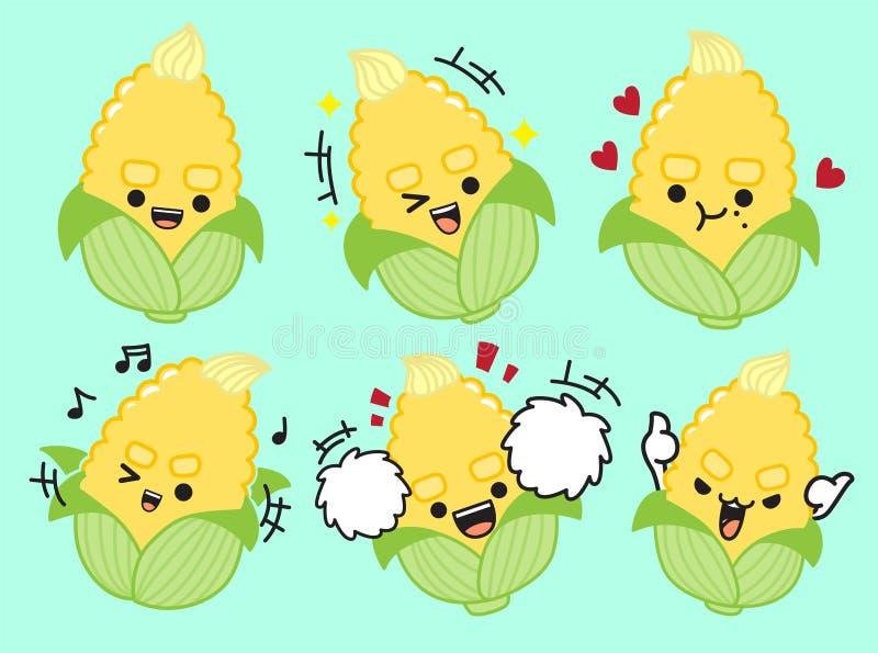 Conception de personnages mignonne de maïs illustation de vecteur illustration libre de droits