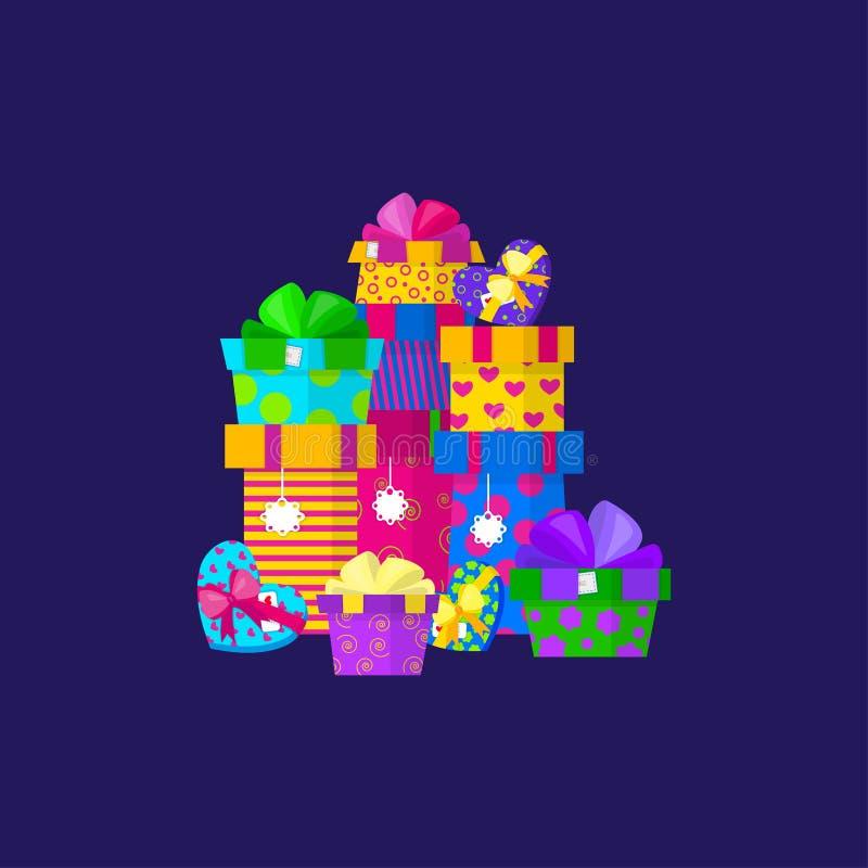 Conception de pile de cadeau de vecteur dans le style plat illustration de vecteur