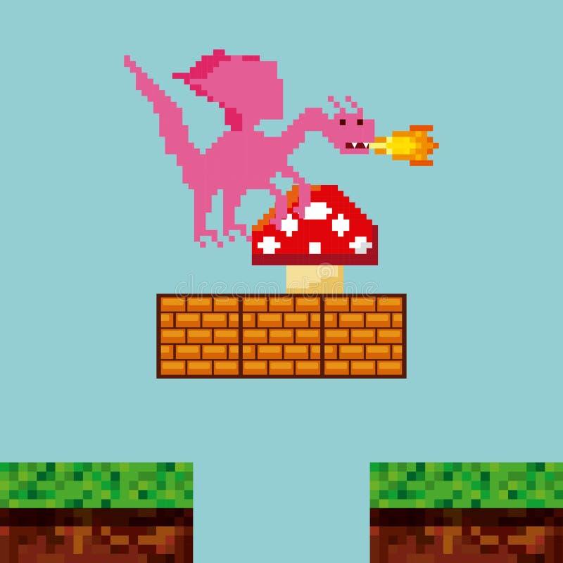 Conception de pixel de jeu vidéo illustration de vecteur