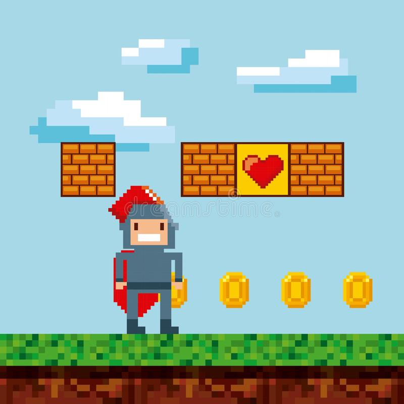 Conception de pixel de jeu vidéo illustration libre de droits