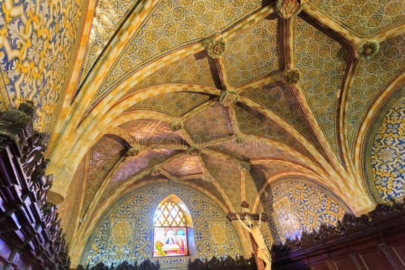 Conception de plafond d'église de palais de Pena photo stock