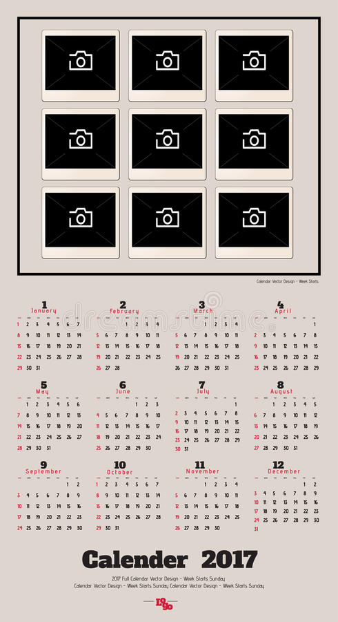 Conception de planificateur de 2017 calendriers photos libres de droits