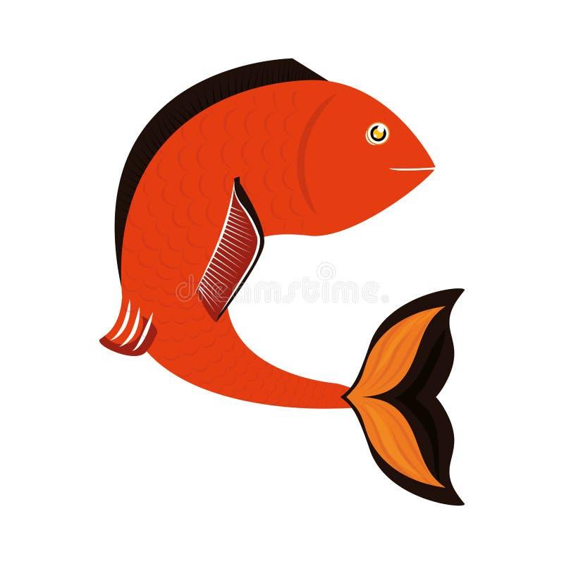Conception de poissons au-dessus de fond Icône de vie marine, grap de vecteur illustration libre de droits