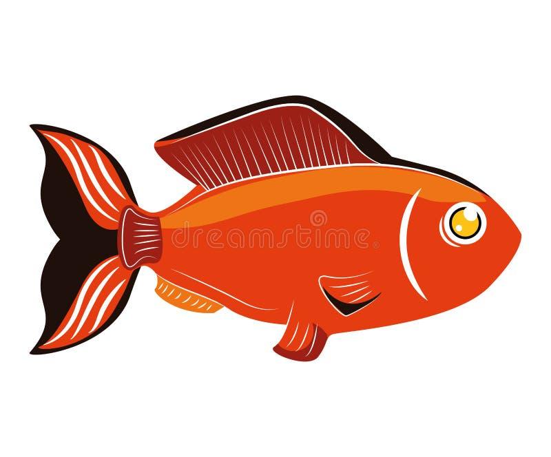 Conception de poissons au-dessus de fond Icône de vie marine, grap de vecteur illustration de vecteur