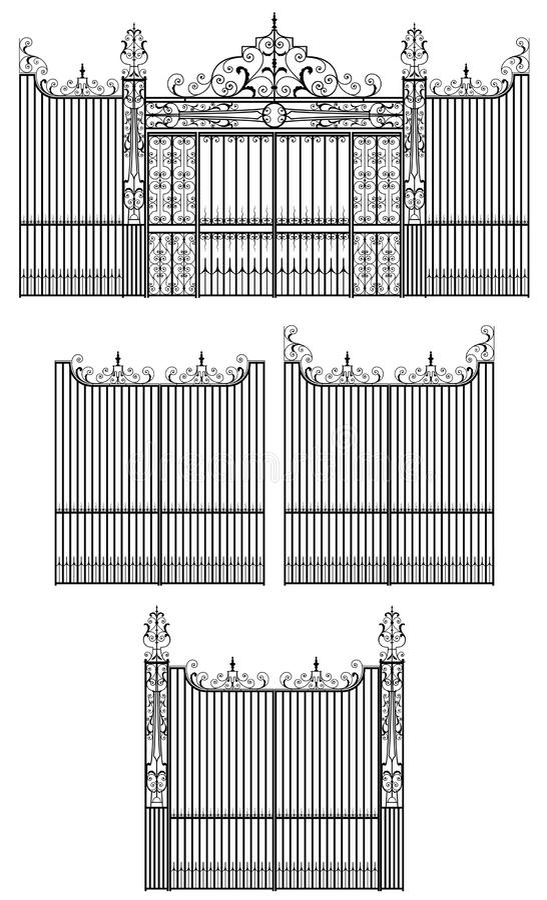 Conception de porte de fer fleuri et travaillé avec les éléments décoratifs illustration de vecteur