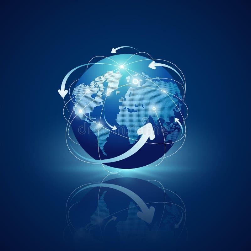 Conception de réseaux de connexions de globe sur le fond bleu illustration libre de droits