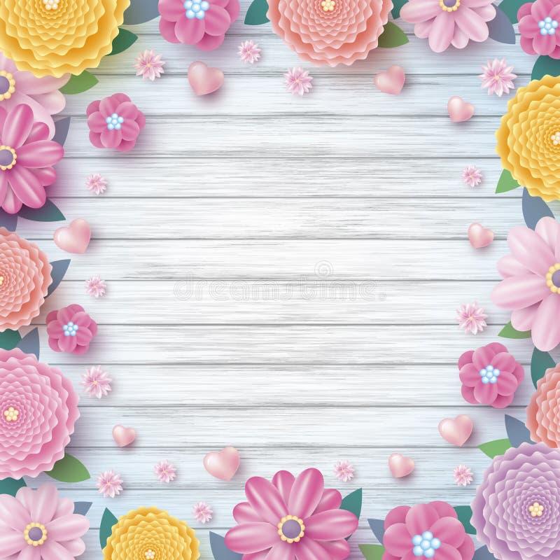 Conception de ressort des fleurs et des coeurs colorés sur le fond en bois illustration libre de droits
