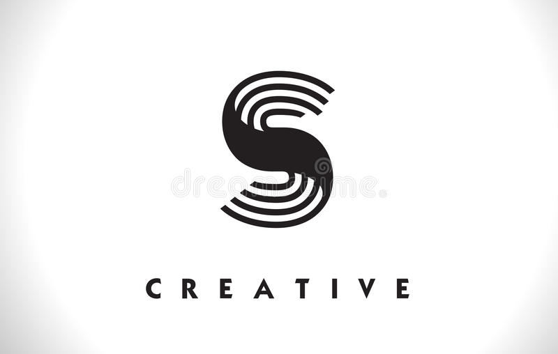 Conception de S Logo Letter With Black Lines Ligne vecteur Illust de lettre illustration stock