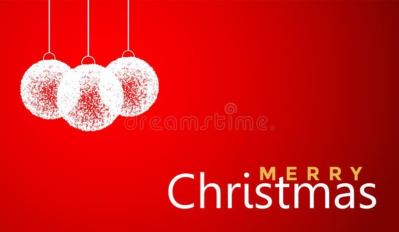 Conception de salutation des textes de Joyeux Noël et de boule de Noël dans l'icône colorée blanche sur le fond rouge abstrait illustration de vecteur
