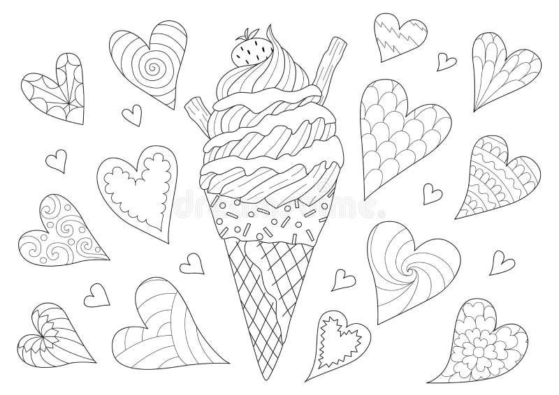 Conception de schéma de cornet de crème glacée pour l'élément de conception et la page de livre de coloriage Illustration de vect illustration libre de droits