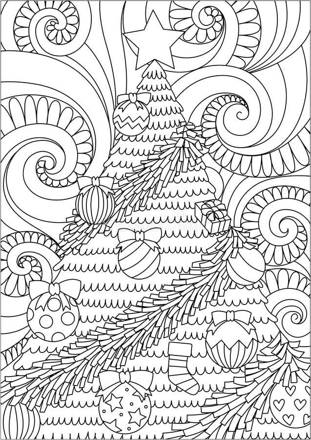 Conception de schéma du défilement de tempête et de l'arbre de Noël pour la page de conception d'impression et de livre de colori illustration de vecteur