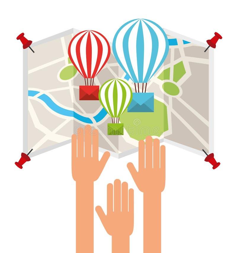 Conception de service de messagerie de courrier illustration de vecteur