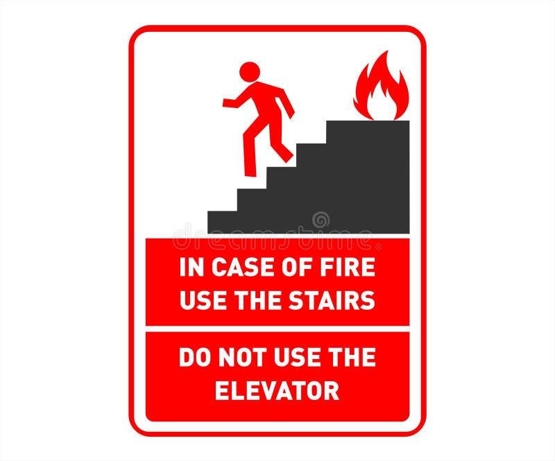 Conception de signe de sécurité de sortie de secours - escaliers d'utilisation au cas où - affiche imprimable de mur de sécurité illustration de vecteur