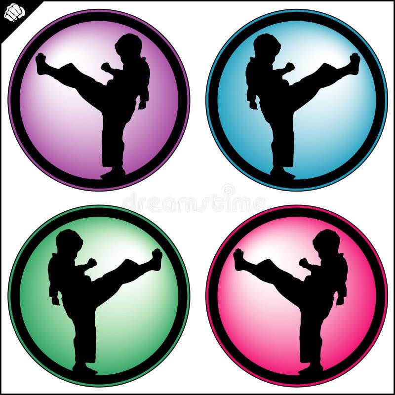 Conception de simbol colorée par art martial Emblème d'enfant de karaté illustration de vecteur