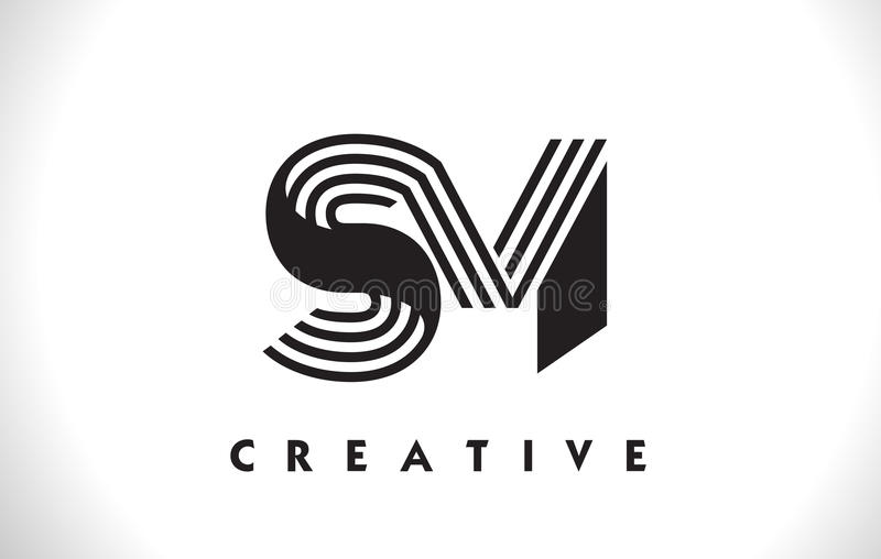 Conception de SM Logo Letter With Black Lines Ligne vecteur Illus de lettre illustration de vecteur