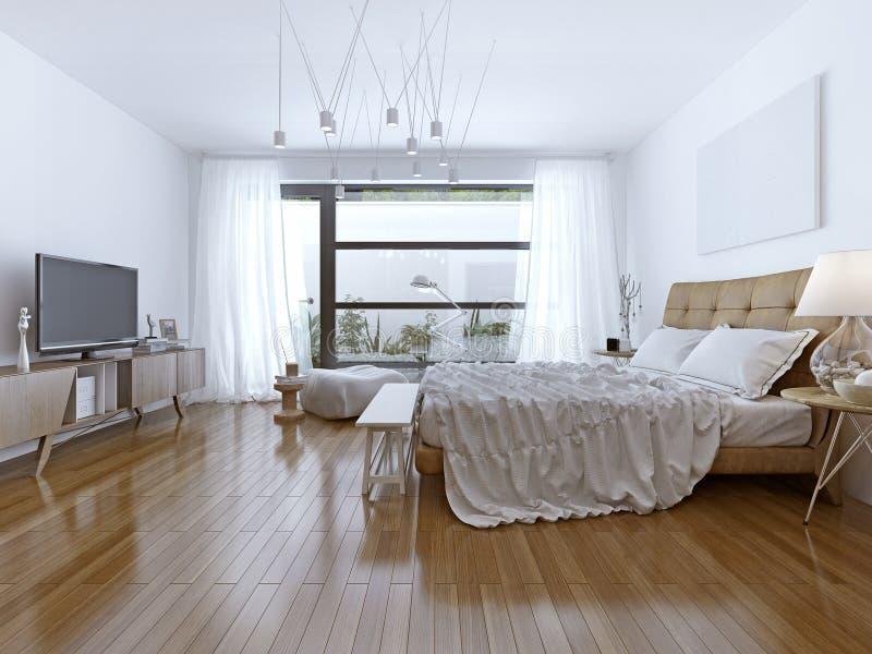 Conception de style contemporain lumineux de chambre à coucher image stock