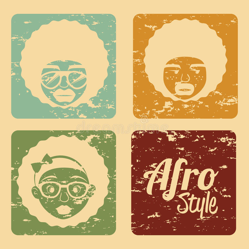 Conception de style d'Afro illustration de vecteur