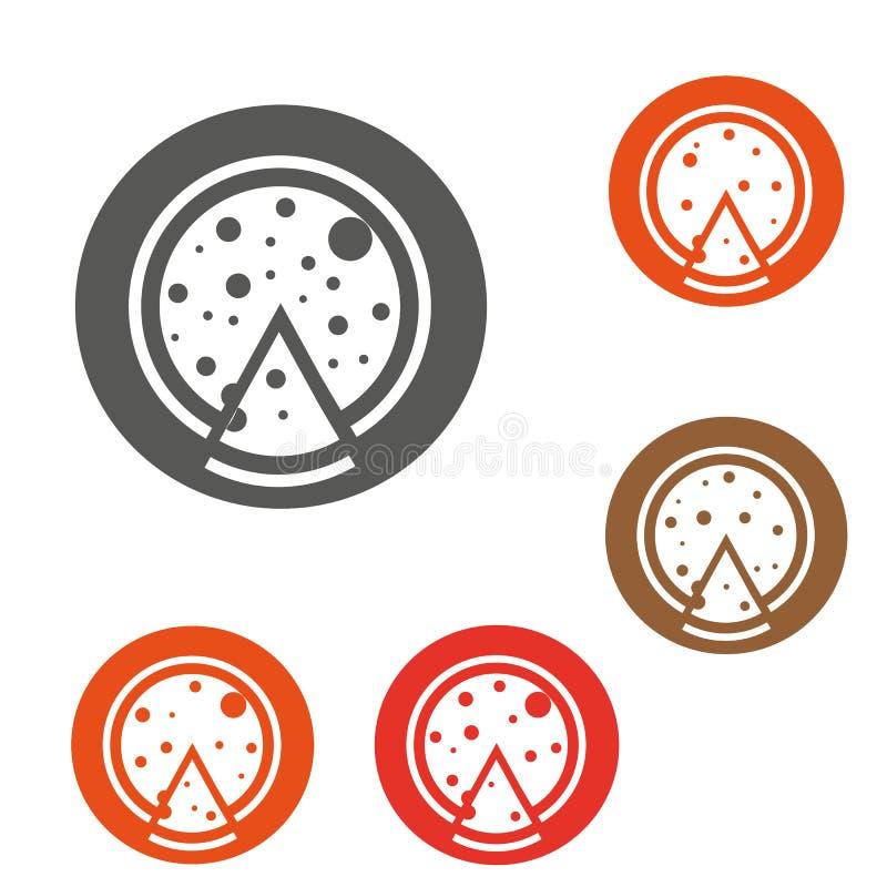 Conception de symbole d'ensemble de concept de morceau de pizza Cette illustration simple d'élément peut être employée pour le We illustration stock