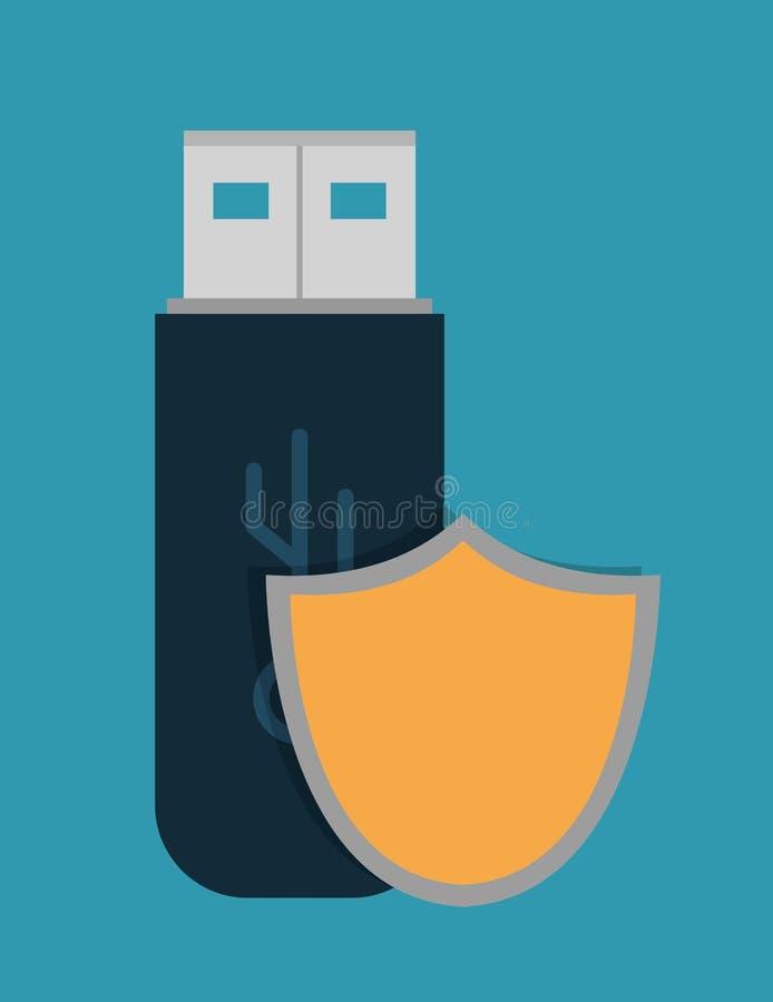 Conception de système de sécurité de cyber d'usb de bouclier illustration de vecteur