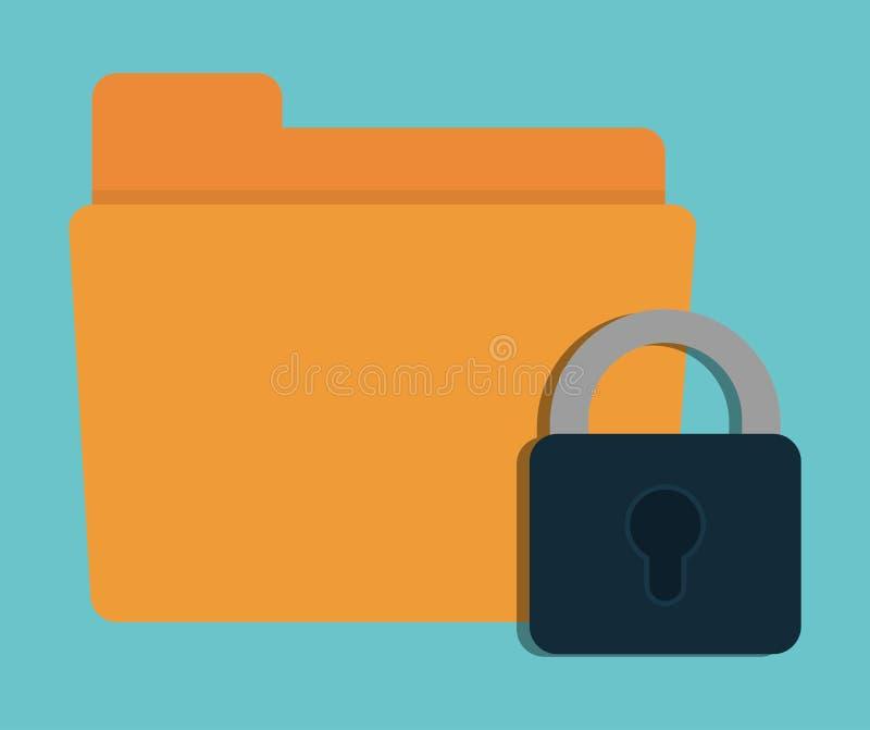 Conception de système de sécurité de cyber de dossier de cadenas illustration stock