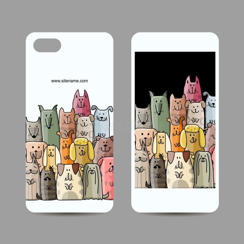 Conception de téléphone portable, famille de chiens drôle illustration de vecteur