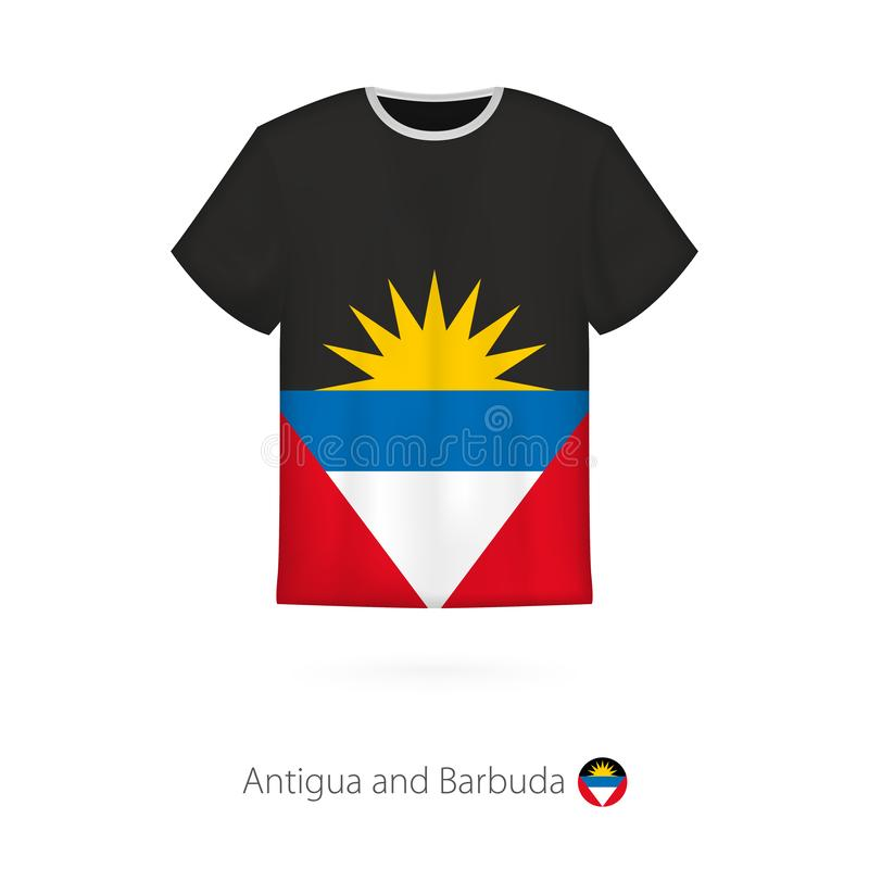 Conception de T-shirt avec le drapeau de l'Antigua-et-Barbuda illustration stock