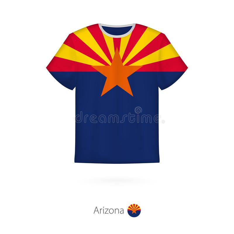 Conception de T-shirt avec le drapeau de l'Arizona U S état illustration stock