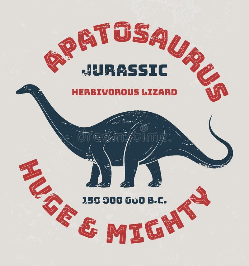 Conception de T-shirt d'Apatosaurus, copie, typographie, label illustration libre de droits
