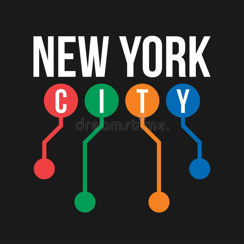 Conception de T-shirt dans le concept du souterrain de New York City Typographie fraîche avec la carte abstraite de souterrain de illustration libre de droits