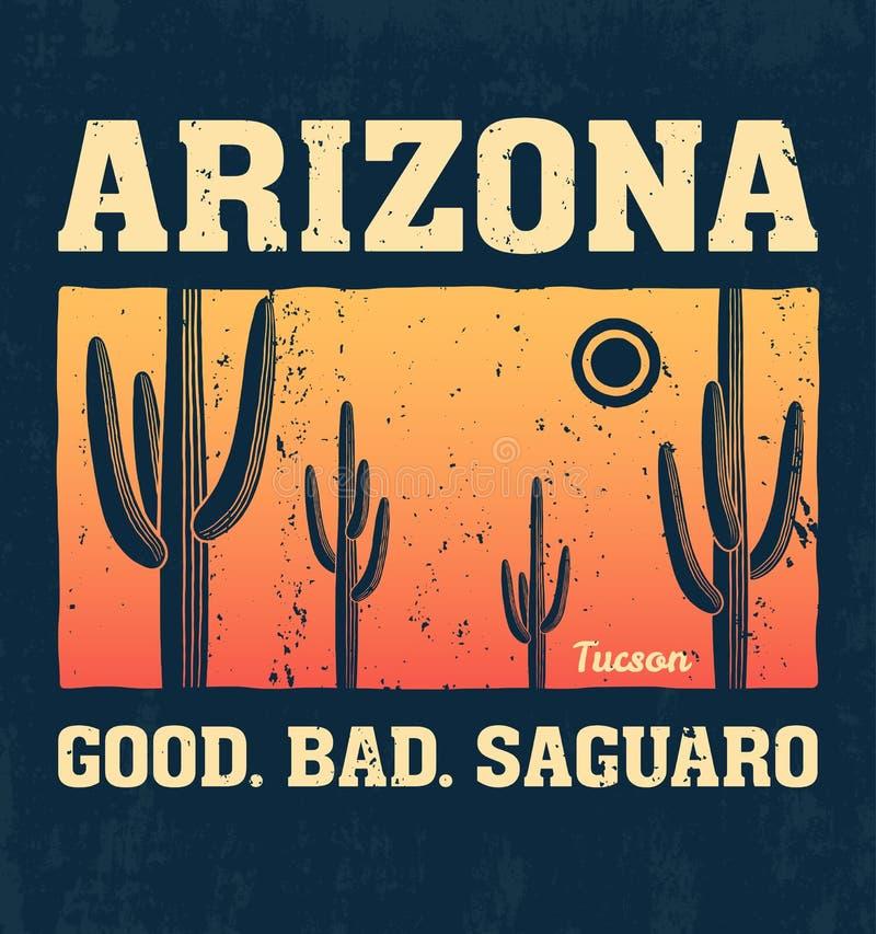Conception de T-shirt de l'Arizona, copie, typographie, label avec le cactus de saguaro illustration libre de droits