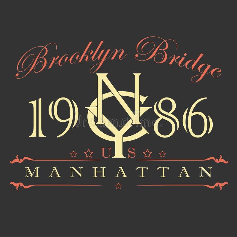 Conception de T-shirt de Manhattan illustration stock
