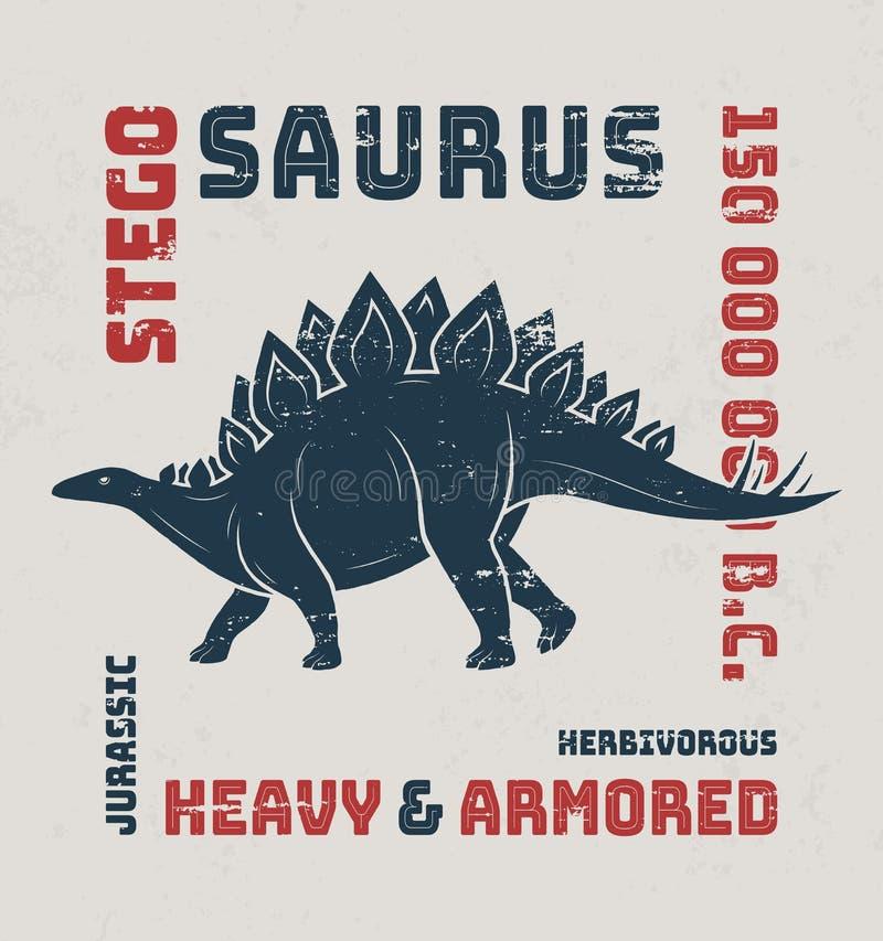 Conception de T-shirt de Stegosaurus, copie, typographie, label illustration de vecteur