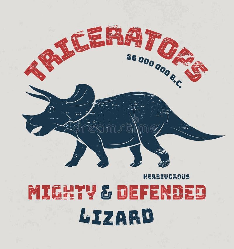 Conception de T-shirt de Triceratops, copie, typographie, label illustration de vecteur