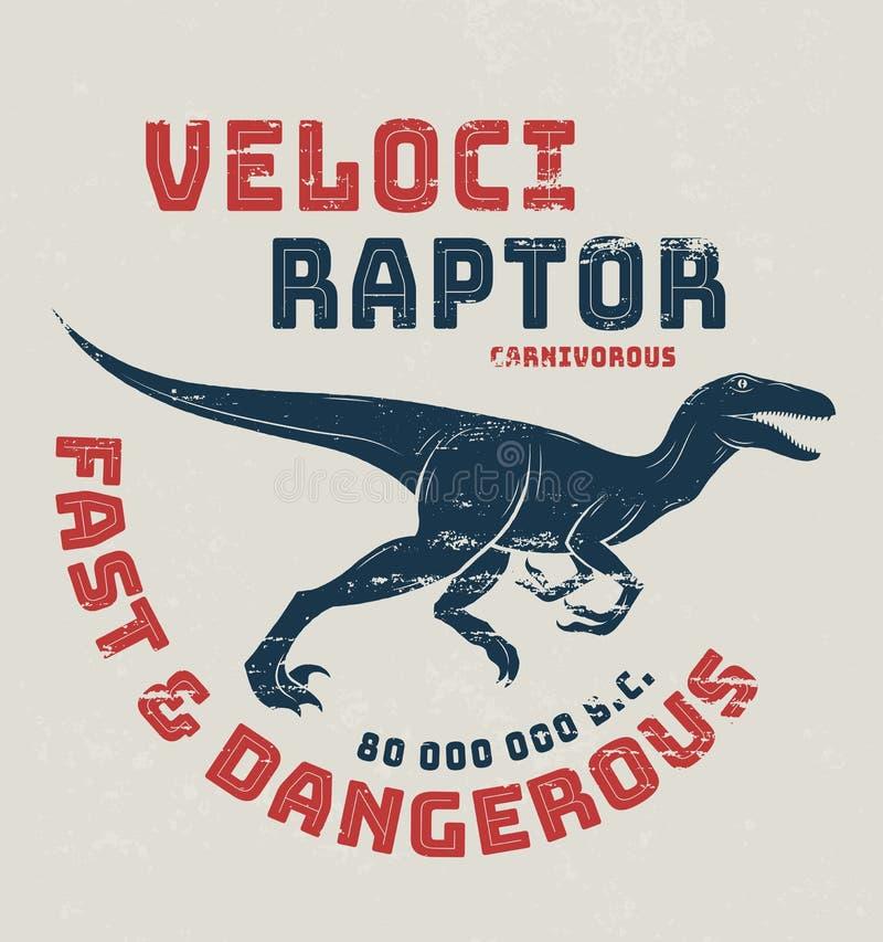 Conception de T-shirt de Velociraptor, copie, typographie illustration libre de droits