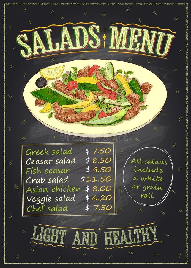 Conception de tableau de liste de menu de salades avec les légumes et la salade de viande illustration stock