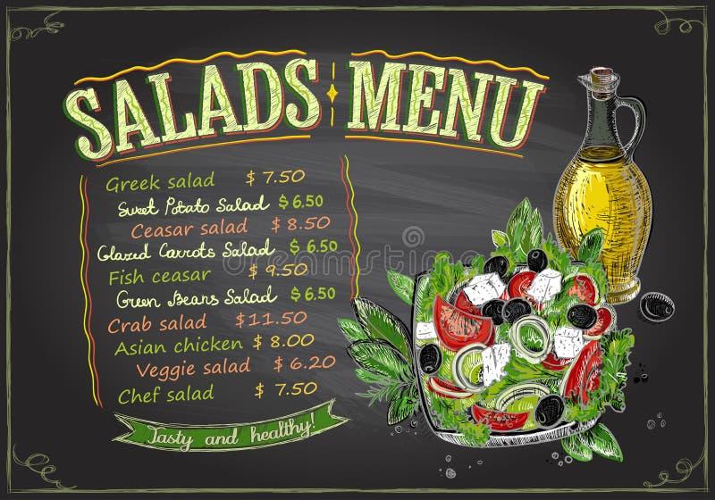 Conception de tableau de menu de salades, illustration tirée par la main avec de la salade grecque illustration libre de droits