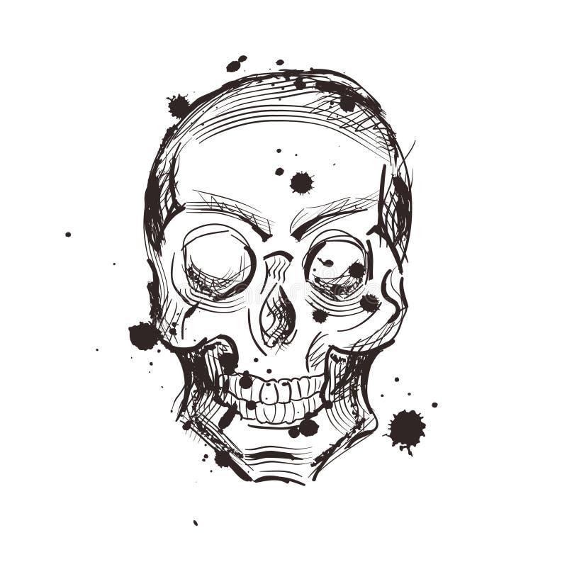 Conception de tatouage de croquis de crâne Illustration tirée par la main illustration stock