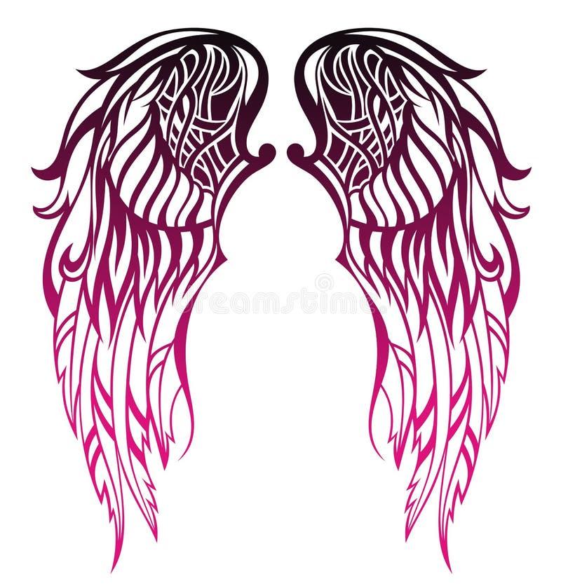 Conception de tatouage d'ailes illustration de vecteur