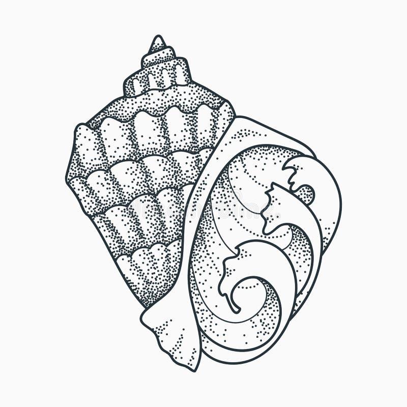 Conception de tatouage de coquillage illustration stock