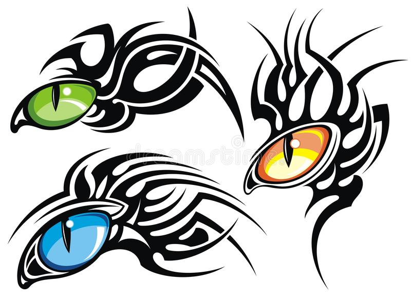 Conception de tatouage de yeux illustration de vecteur