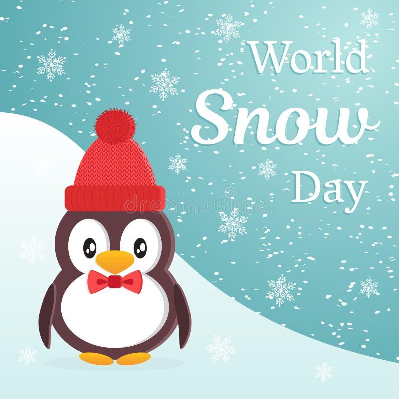 Conception de thème de jour de neige du monde Le pingouin mignon de bande dessinée utilisant un chapeau chaud et attachent un pap illustration de vecteur