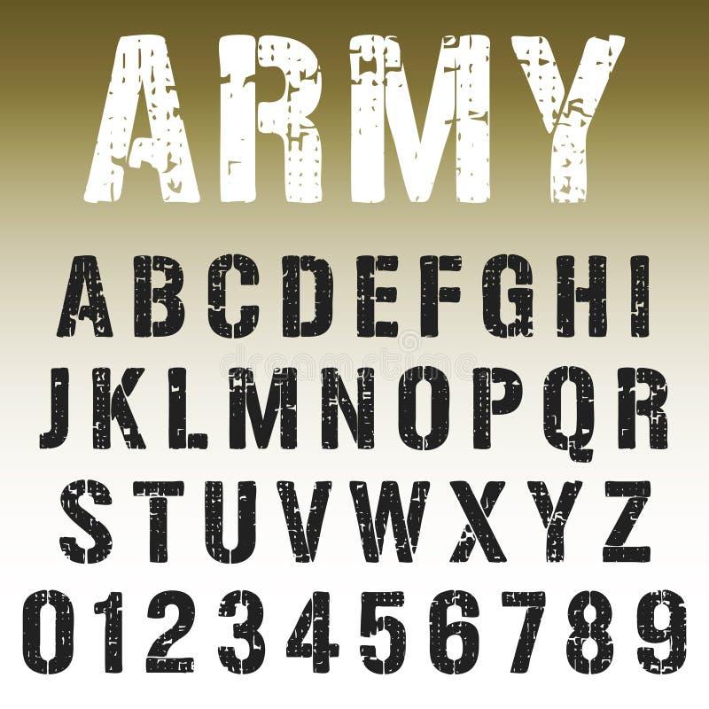 Conception de timbre d'armée de police d'alphabet illustration stock