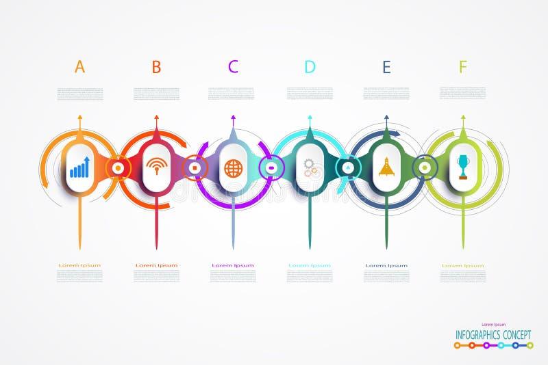 Conception de timline d'Infographic de vecteur avec des icônes et 6 étapes d'options illustration stock