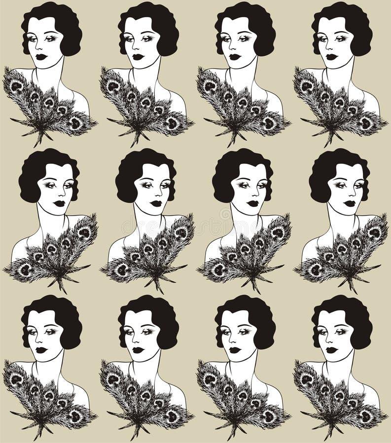 Conception de tissu de vintage avec un style du ` s de la fille 20 d'aileron Illustration de mode illustration de vecteur