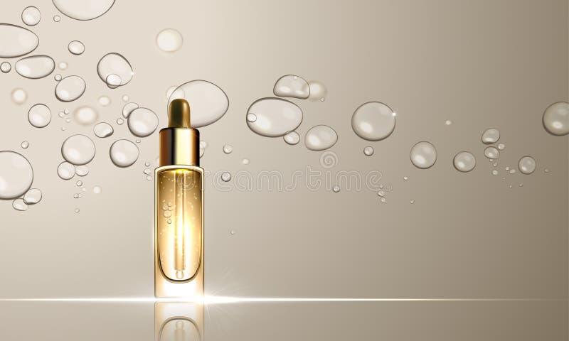 Conception de traitement de soins de la peau de bouteille de sérum de collagène illustration de vecteur