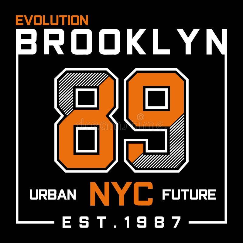 Conception de typographie de Brooklyn New York City d'évolution illustration de vecteur