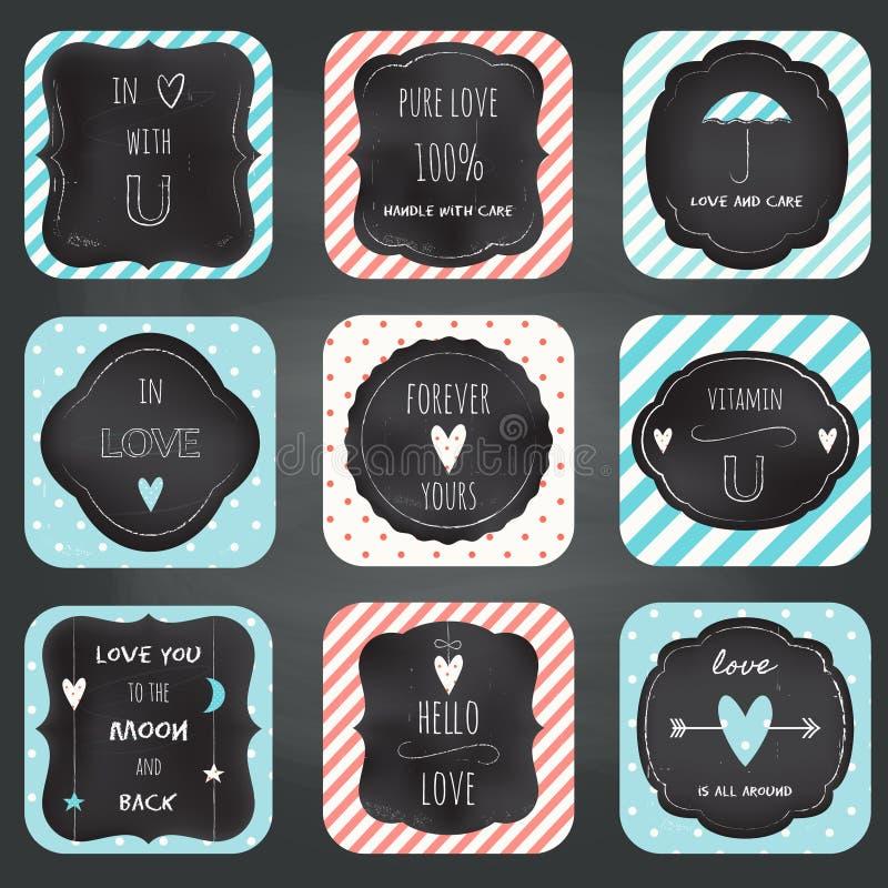 Conception de typographie de tableau de cartes de notes d'amour illustration de vecteur